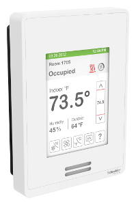 Schneider Electric SE8600U5B11 - Roof Top Unit, Heat Pump & Indoor Air Quality Room Controller: BACnet MS/TP, PIR motion sensor, White Case/Fascia